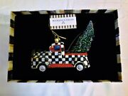 New Mackenzie Childs Festive Courtly Check Truck Glass Ornament And Gift Box Htf