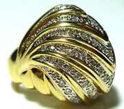 Sonia Bitton 18k Yellow Gold 1.00ct Diamond Large Dome Cocktail Ring Size 6.5
