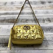Gold Leather Gg Marmont Purse Shoulder Bag Quilted Matelesse Pearls 447632
