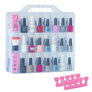 48 Bottles Universal Clear Gel Nail Polish Organizer Case Holder For Double Side