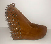 City Snappers Studded Slip On Wedges. Tan Suede Like Material. Size 9. Pre-owned