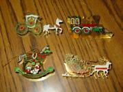4 Vintage Colored Christmas Brass Ornaments - Carriage Train Sleigh And Horse