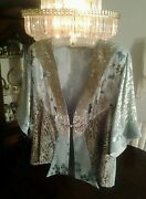 New Spencer Alexis Green Jacket Taupe Lapel And Metalic Lace Small