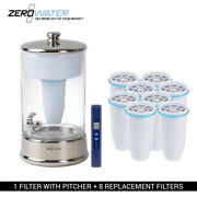 Zero Water 40-cup Portable 2.5 Gallon Glass Dispenser And 8 Replacement Filter Com