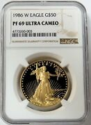 1986 W Gold 50 American Eagle Proof Coin Ngc Pf 69 Ultra Cameo