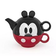 New Disney Mickey Mouse Tea Set For One Stacking 3 Pieces Ceramic Teapot Cup Top