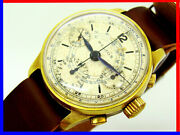 Very Rare Helios Valjoux 71 Chrono From 1940 Years 20 Microns Gold Serviced