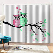 Loving Cute Owl Meeting In A Branchprinting 3d Blockout Curtains Fabric Window