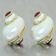 Seaman Schepps 18k Yellow Gold Shell And 2ctw Ruby Clip-on Earrings