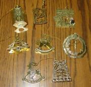 Lot Of 8 Brass Vintage Christmas 3d Ornaments -reindeer Sled Tree Church++