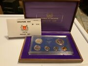 1974 Singapore Mint Proof Set 6 Coin Boxed Set And Coa 0036