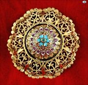 Lovely 1900s Antique Ottoman 18k Gold Turquoise Ruby Jade Reversible Brooch Pin