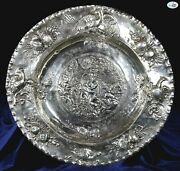 Fine English Antique 1898 Stamped Berthold Muller Chester Silver Repoussé Tray
