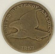 1857 Flying Eagle Cent. Clash With Seated Half, Fs-401. Good. Raw3462/bl