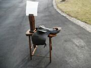 Antique Leather Harness Wood Bench Vise Tool Primitive Saddle Awl