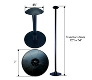 Pactrade Marine Boat Pontoon Cover Support Pole Adjustable 12-54 Black 6 Parts