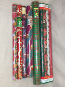 Lot Of Various Vintage Christmas Wrapping Paper 13 Rolls 336 Sq Ft Santa Clause