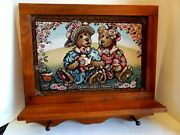 Wood Framed Boyd's Bears And Friends Tapestry Picture W/shelf And Hooks For Wall