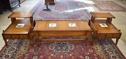 Mid Century Rustic Parlor Set, Coffee Table End Side Tables, Bird Tiles