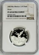 2007 Silver Mexico 1/4 Onza Libertad Proof Coin Ngc Pf 69 Ultra Cameo