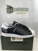 Adidas Superstar Mens Fw5387 Black White Shell Toe Shoes Size 11 Lgbt Pride