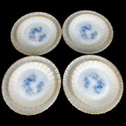 Vtg Termocrisa Mexico Blue Floral Milk Glass Salad And Dinner Plates Set Of 8