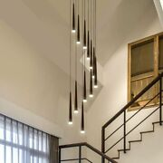 Rotating Chandelier Staircase Ceiling Fixture Hanging Lamp Mounted Modern Lights