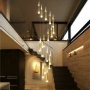 Led Chandelier Staircase Long Pendant Lamp Adjustable Hanging Light Fixtures New