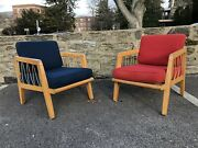 Pair Edward Wormley For Drexel Mid Century Modern Rope Lounge Chairs