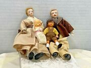Vintage Dolls Family Jointed Porcelain Face Mom Dad Child Boy Baby Old Rare Doll