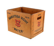 Vintage Saratoga Vichy Box Wax Coated New York Advertising Water Crate Decor