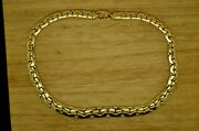 17.5 18k Yellow Gold Hollow Graduated Serpentine Chain Necklace 55.5g D3059