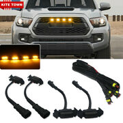 Smoked Front Grille Amber Led Lights Kit For 16-up Toyota Tacoma W/trd Pro Grill