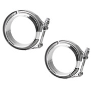 2 X 2.0 V-band Flange And Clamp Kit For Turbo Exhaust Downpipes Stainless Steel