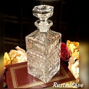 Vintage Glass Decanter With Hexagon Stopper Barware Whiskey Holder
