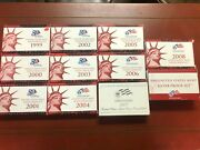 Lot Of 11 U.s. Mint Silver Proof Sets - 1999 Through 2009 Complete Run