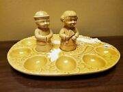 Vintage Oriental Egg Tray W/ Salt And Pepper Shakers