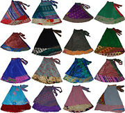 Indian Wrap Around Skirt Wholesale Lot Of 12 Pcs Printed Reversible Two Layer