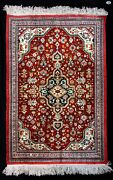 Fine Antique All Silk Handmade Middle Eastern Floral Accent Decorative Rug