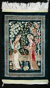 Fine Antique All Silk Handmade Middle Eastern Accent Decorative Rug W/lovers