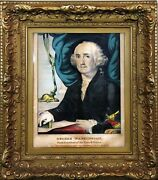 Scarce Antique 1800 President George Washington Hand-colored Lithograph Painting