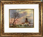 Vintage 1960 Signed Dutch Wouter Janssen A Cold Winter Day Windmill Oil Painting