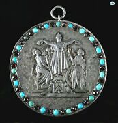 Majestic 1800 Neo-classical French Silver Garnet Turquoise Repoussandeacute Pendant
