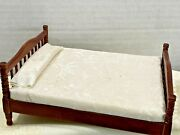 Vintage Full Bed Doll House Cream Pillows Miniature Excellent Poster Bed 6x5