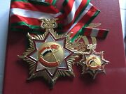 State Of Yemen Military Order Of War Wounded Neck Badge Medal Complete Set Box