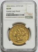 1854 Gold 20 Liberty Small Date Granite Lady Hoard Double Eagle Coin Ngc Au 50