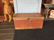 Early Painted Wood Box Dovetail Primitive Box Old Red Paint And Leather Straps