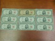 Lot Of 9 5 Five Dollar Bills Series 1963 United States Red Seal Some Stars