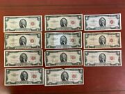 Lot Of 11 1953 Two Dollar Bill 2 Noteandnbspred Seal Note 3