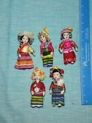 3.75 Inch Porcelain Asian Dolls Vintage Rare Figurines Ethnic Outfits Gifts Lot